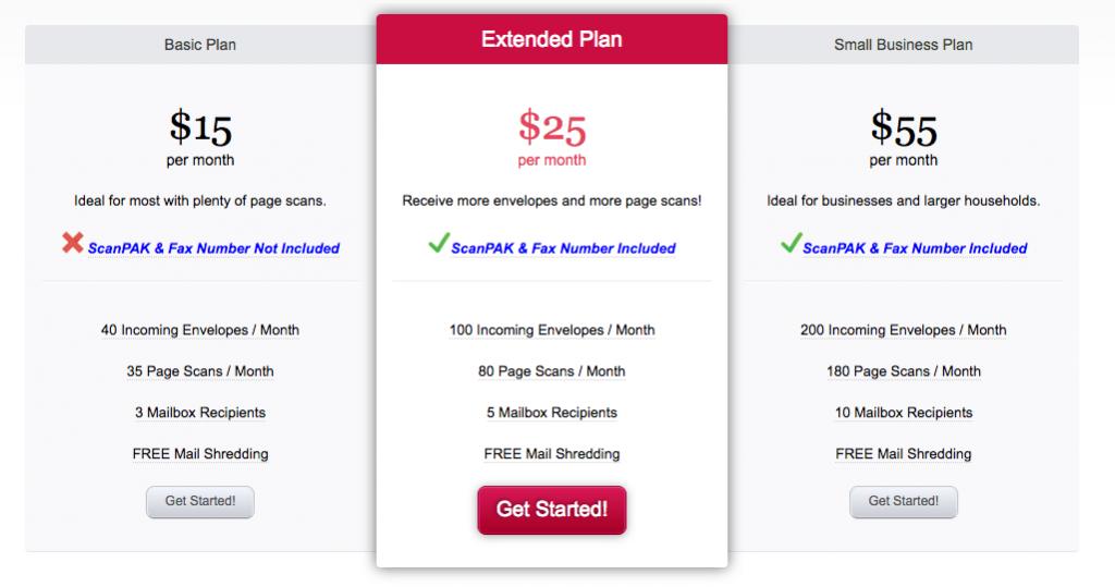 Traveling Mailbox plan pricing