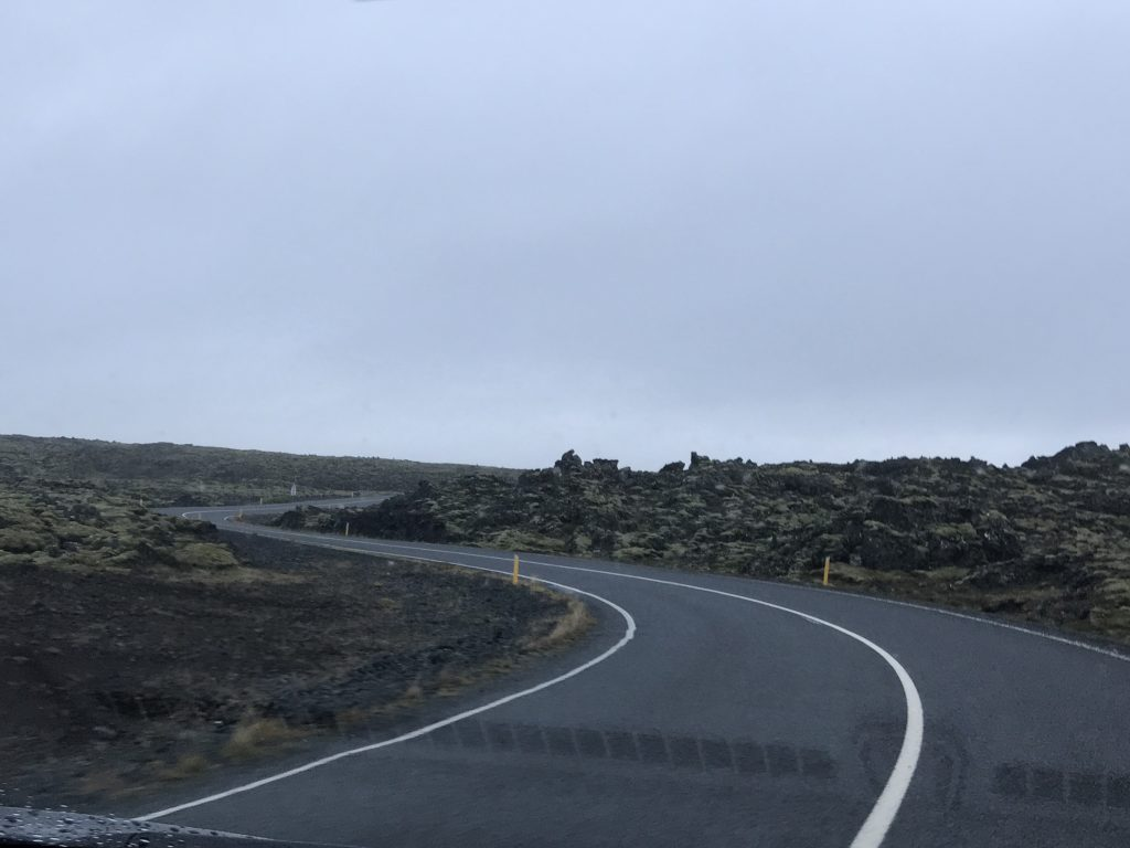 The road to Reykjaynes Peninsula in Iceland.