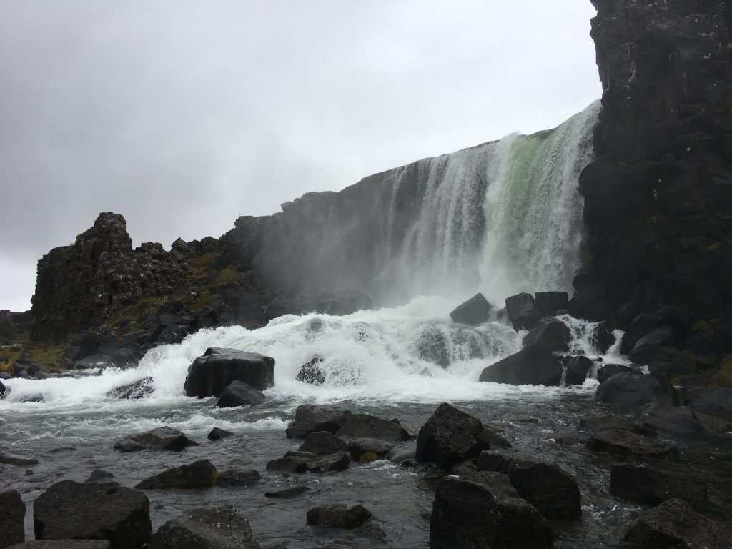 Waterfall at Thingvellir National Park in Iceland.